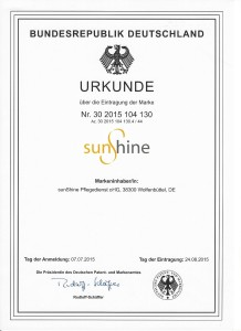 Urkunde Marke sunshine 2015